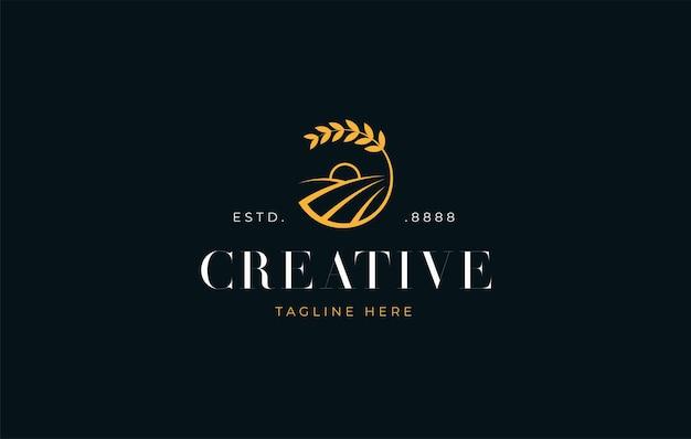 Wheat field sunrise icon logo design template