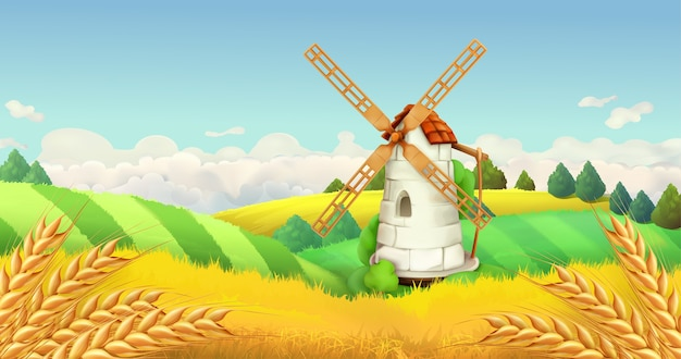 Wheat field. windmill landscape. horizontal illustration, vector