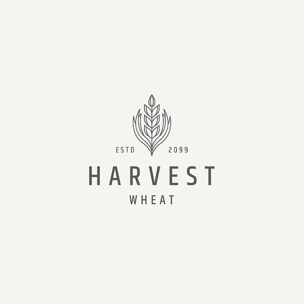 小麦穀物農業ロゴアイコンデザインテンプレートフラットベクトル