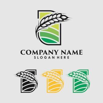 小麦粒のロゴデザインテンプレート