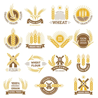 Wheat grain logo. flour farm food for breakfast shop harvesting wheat traditional products