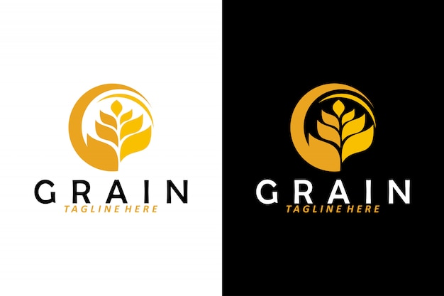 Wheat grain logo vector isolated