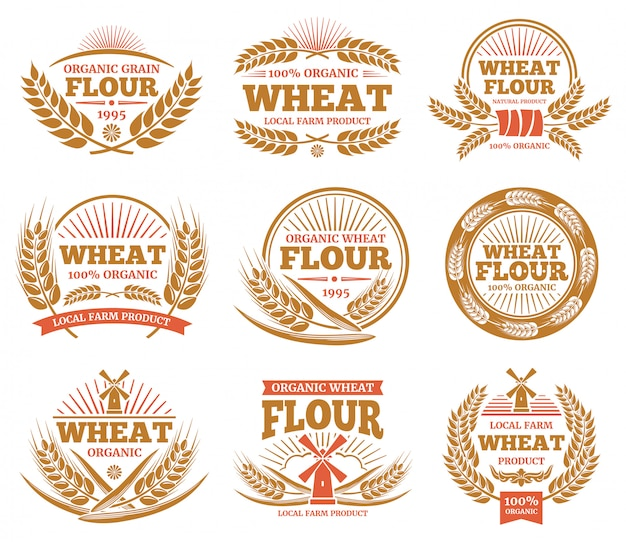 Wheat grain product and bread labels. nature wheat ears badges.
