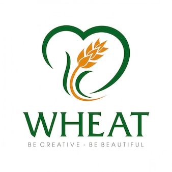 Wheat grain and wheat rice logo inspiration