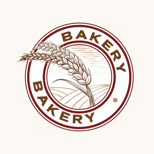 パン屋とパンのエンブレムスタンプヴィンテージスタイルのデザインの小麦粒とフィールド