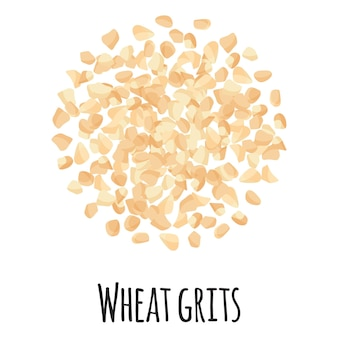 Wheat grits for template farmer market design, label and packing. natural energy protein organic super food. vector cartoon isolated illustration.