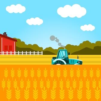 Wheat harvesting flat vector poster