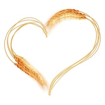 Пшеничное сердце на белом фоне