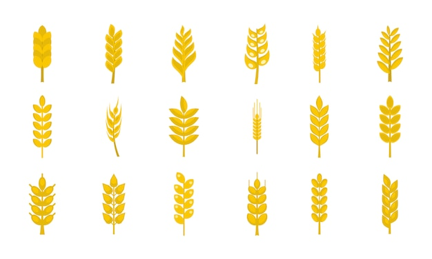 Wheat icon set. flat set of wheat vector icons collection isolated