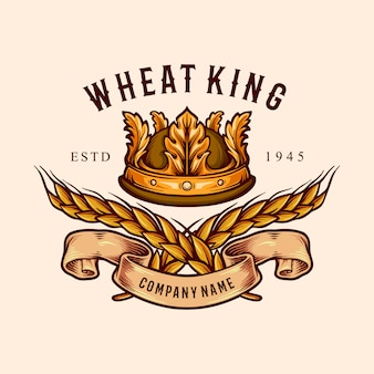 Wheat king crown badge illustrations