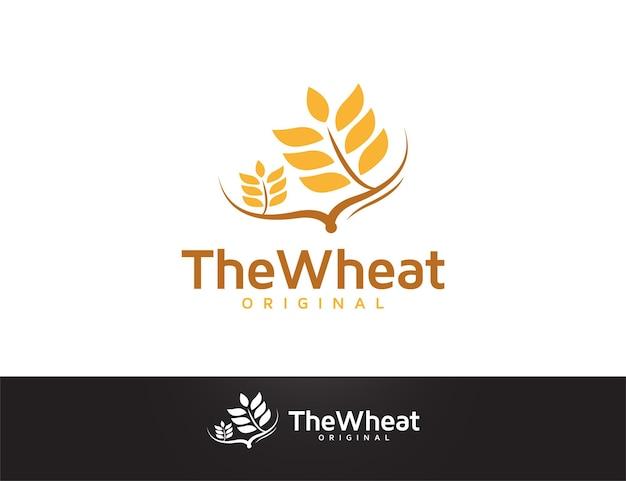 枝のイラストと小麦のロゴデザイン