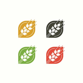 Wheat logo farm illustration template