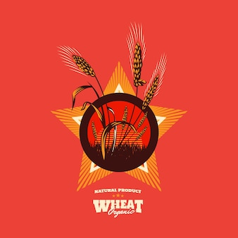 Wheat organic grain emblem