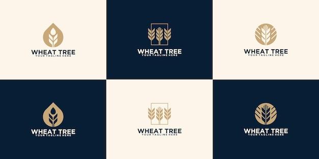小麦植物ロゴセットテンプレートデザイン