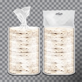 Wheat, rice or maize toast in clear plastic or cellophane film pack.