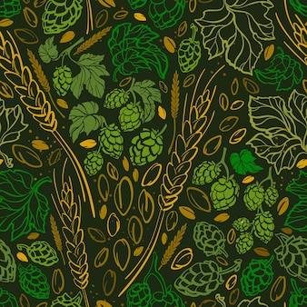 Wheat seed hop print doodle seamless pattern beer ingredient hand drawn vintage illustration