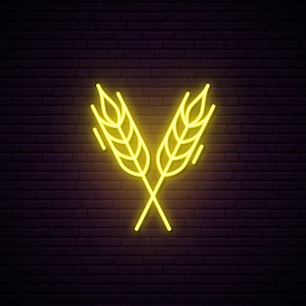 Wheat spikes neon sign.