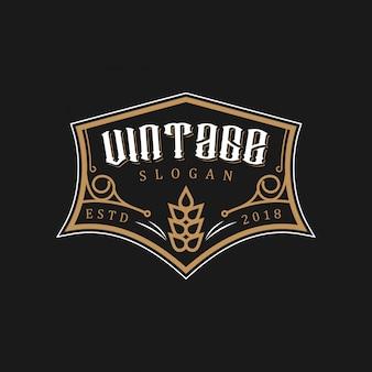小麦のヴィンテージロゴデザイン
