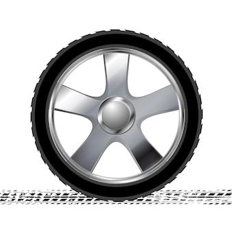 Колесо и гранж-шина следят абстрактного фона. векторная иллюстрация