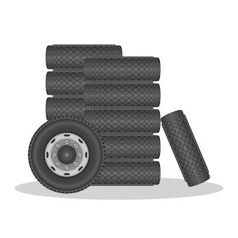Wheel car tire illustration isolated on white
