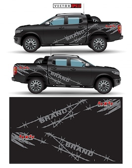 Грузовик и автомобиль полноприводный графический вектор. абстрактные линии с черным рисунком для транспортного средства виниловой пленки