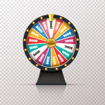 Wheel fortune. casino prize lucky game roulette, win jackpot money lottery circle. chance winner gamble wheel 3d realistic