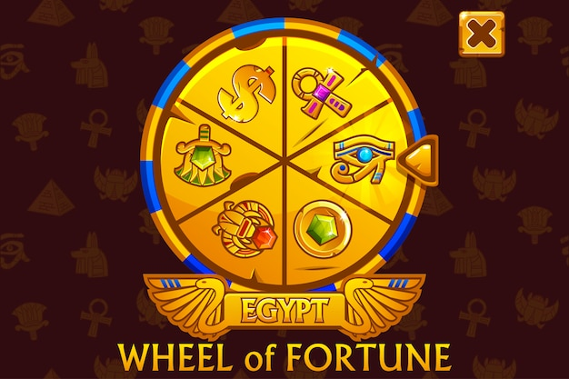 Wheel of fortune in egyptian style for ui game and casino.