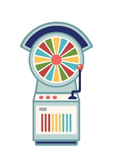 Wheel of fortune flat vector illustration. casino slot machine with multicolor spinning wheel and lever arm isolated on white background. amusement park recreation, gambling design element.