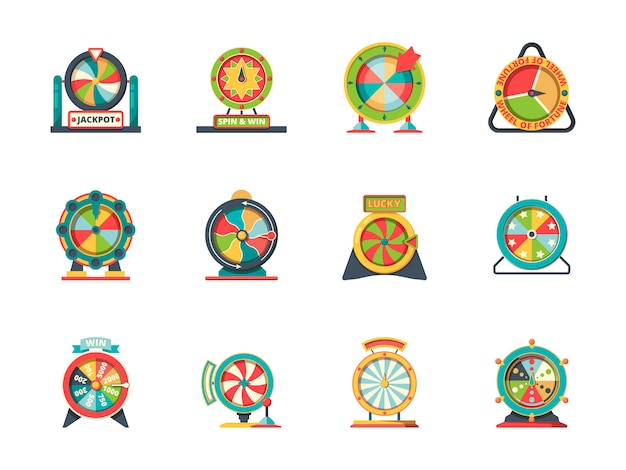 Значок колеса фортуны. круглые предметы из коллекции счастливых вращающихся колес лотереи рулетки