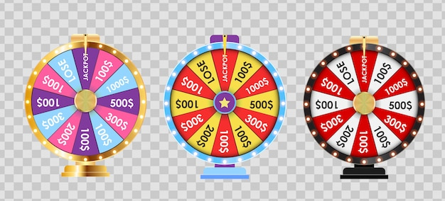 Wheel of fortune, lucky icon collection set.  illustration