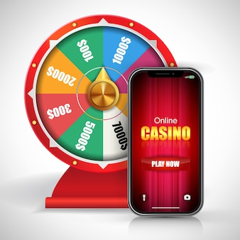 Wheel of fortune and online casino play now lettering on smartphone screen.