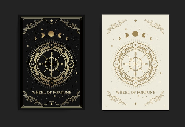 Wheel of fortune tarot card with engraving, handrawn, luxury, esoteric, boho style, fit for paranormal, tarot reader, astrologer or tattoo