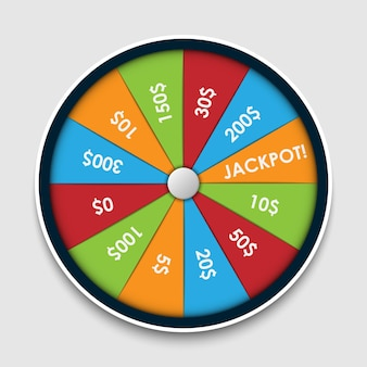 Wheel of fortune with money prize winning lottery gambling roulette winner lucky game