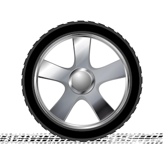 Wheel and grunge tire track abstract background. vector illustration