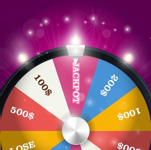 Колесо фортуны - сектор джекпотов, концепция выигрыша в лотерею