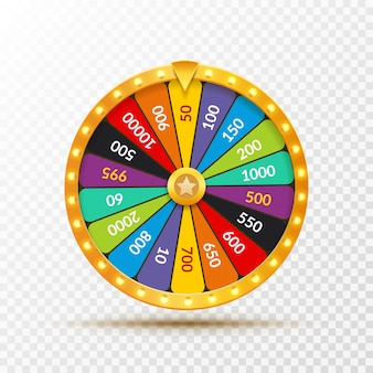 ホイールオブフォーチュン宝くじの運のイラスト。偶然のカジノゲーム。フォーチュンルーレットを獲得します。ギャンブルチャンスレジャー