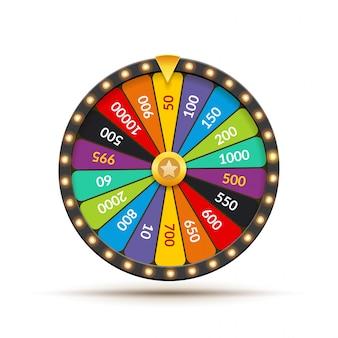ホイールオブフォーチュン宝くじ運のイラスト。偶然のカジノゲーム。フォーチュンルーレットを獲得します。ギャンブルチャンスレジャー