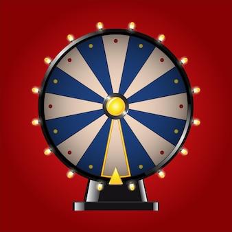 Колесо фортуны - реалистичное современное векторное изображение. красный фон. используйте эти качественные элементы клип-арта для своего дизайна. поиграйте в азартную игру в рулетку. выиграйте большой приз, заработайте трофей.