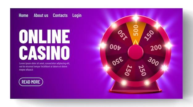 Колесо удачи или фортуны. азартные игры на досуге. красочное игровое колесо. интернет-казино. шаблон целевой веб-страницы
