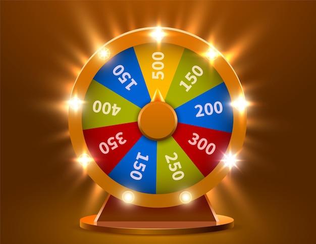 행운이나 재산의 바퀴. 도박 기회 여가. 다채로운 도박 바퀴.