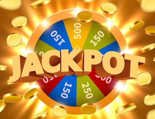 Колесо удачи или фортуны с падающими монетами. азартные игры на досуге. красочное игровое колесо.