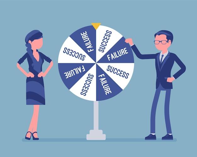 失敗または成功のランダムな変更を選択するホイール。運のためにギャンブルをした後、偶然に選ばれた未来、事業開発の後に到達した結論または解決策。ベクトルイラスト、顔のない文字