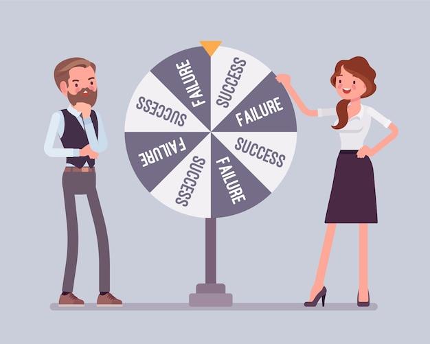 失敗または成功のランダムな変化を選択するホイール