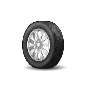 ホイールタイヤアイコン、リアルなスポーツリム。黒の自動ゴムタイヤと金属ディスク。 3d
