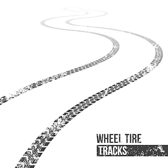Wheel tire tracks. winding trace.