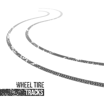 Wheel tire tracks, winding trace.