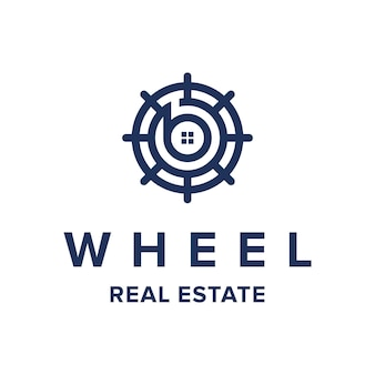 Wheel with letter b for real estate industry simple modern geometric logo design