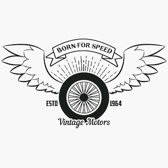 Wheel with wings vintage hipster logo print for design clothes tshirt stamp with ribbon