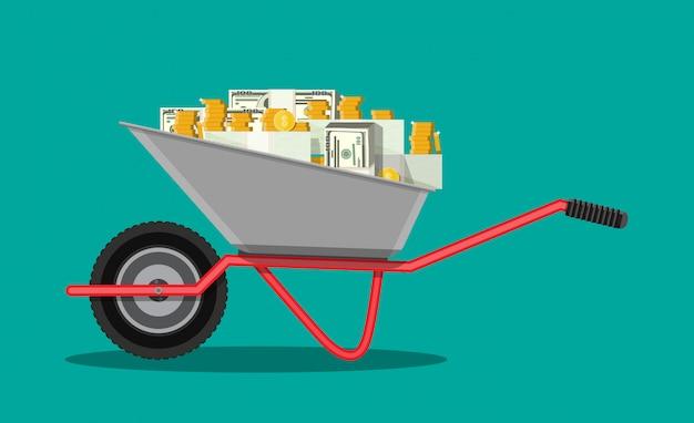 Wheelbarrow full of money