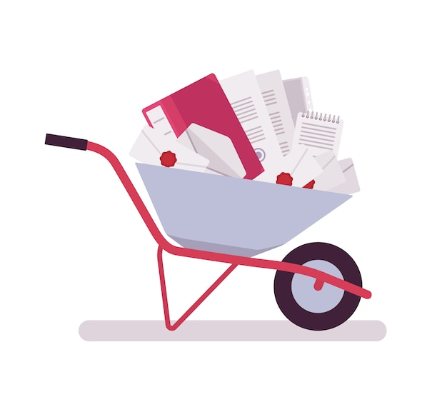 Wheelbarrow full of papers, folders, letters